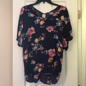 Navy blouse with a floral print